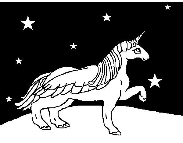 Dibujo de Unicornio mirando las estrellas para Colorear