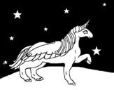 Dibujo de Unicornio mirando las estrellas