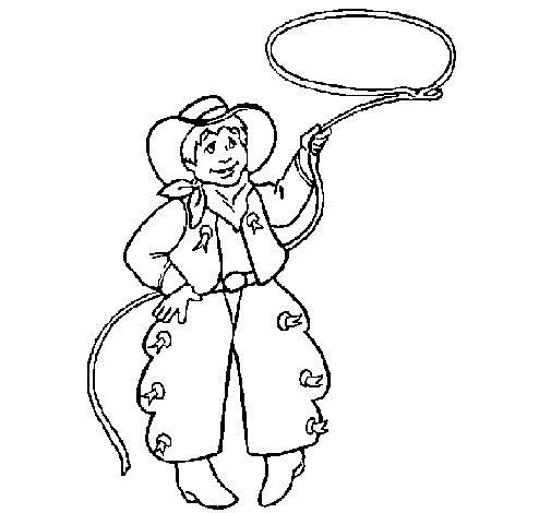 Dibujo de Vaquero con lazo para Colorear
