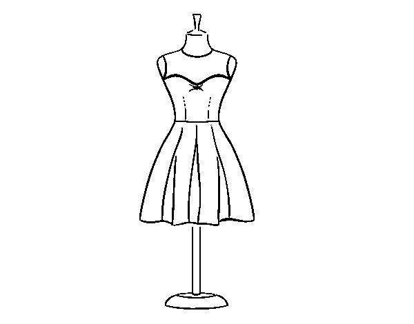 Dibujo de Vestido palabra de honor  para Colorear