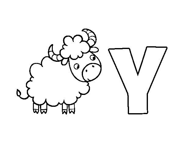 Dibujo de Y de Yak para Colorear