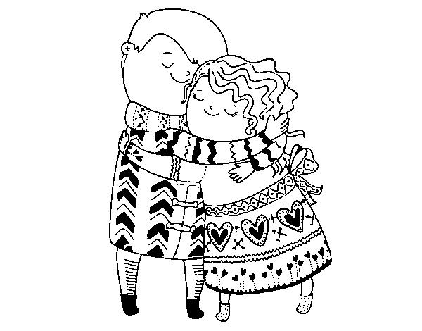Dibujo de Abrazo para Colorear - Dibujos.net