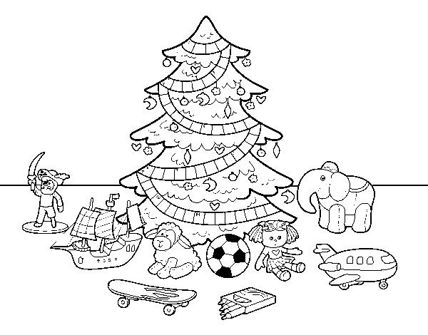 Dibujo De árbol De Navidad Y Juguetes Para Colorear