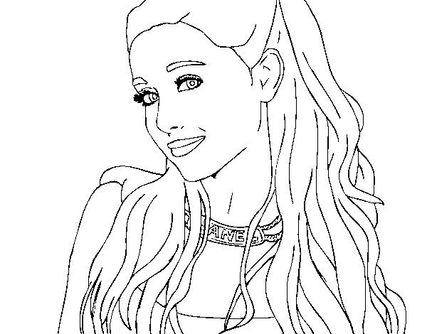 Dibujo de Ariana Grande con collar para Colorear - Dibujos.net