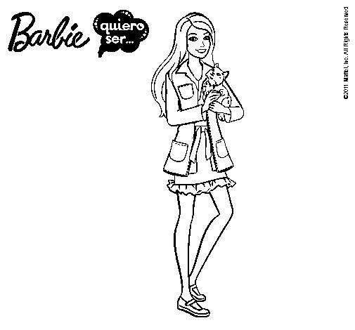 Dibujo de Barbie con un gatito para Colorear - Dibujos.net