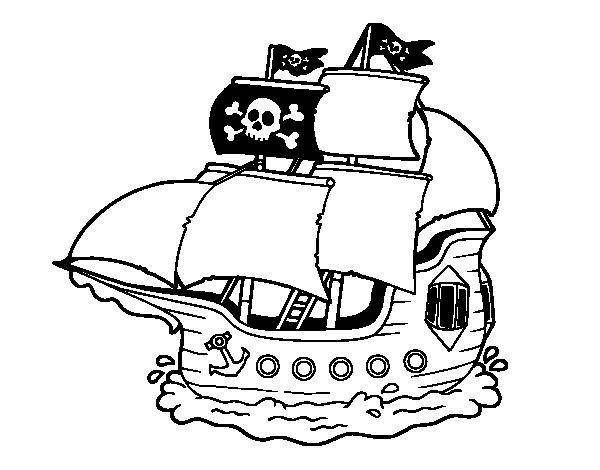 Dibujo de Barco pirata para Colorear - Dibujos.net