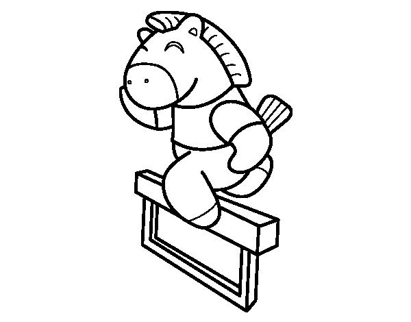 Dibujo de Caballo saltando valla para Colorear - Dibujos.net