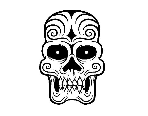 Dibujo de Calavera azteca para Colorear - Dibujos.net