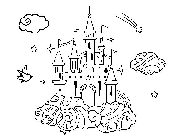 Dibujo de Castillo en las nubes para Colorear   Dibujos.net