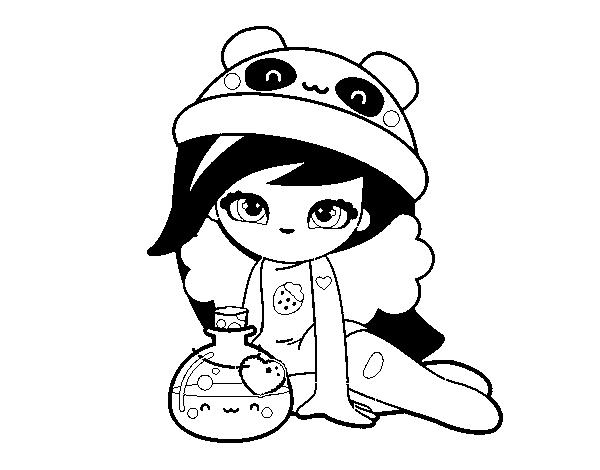 Dibujo de Chica Kawaii para Colorear - Dibujos.net