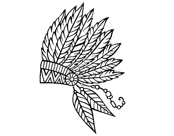 Dibujo De Corona De Plumas India Para Colorear Dibujosnet