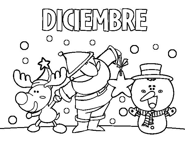 Dibujo De Diciembre Para Colorear Dibujosnet
