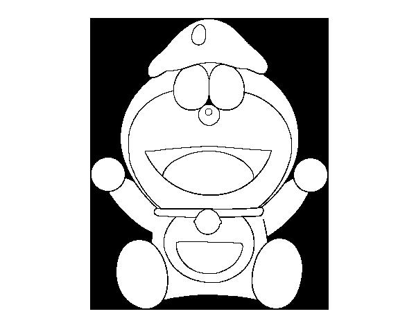 Dibujos Animados Para Colorear En El Ordenador: Dibujo De Doraemon Feliz Para Colorear
