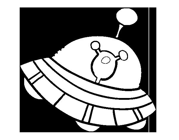 Dibujo de Extraterrestre en nave espacial para Colorear - Dibujos.net