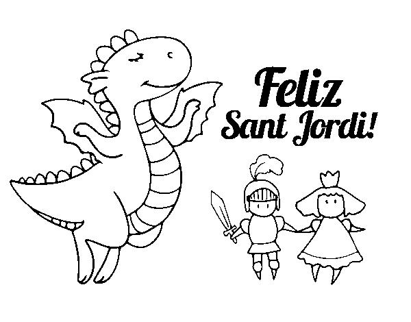 Dibujo de Feliz Sant Jordi para Colorear   Dibujos.net