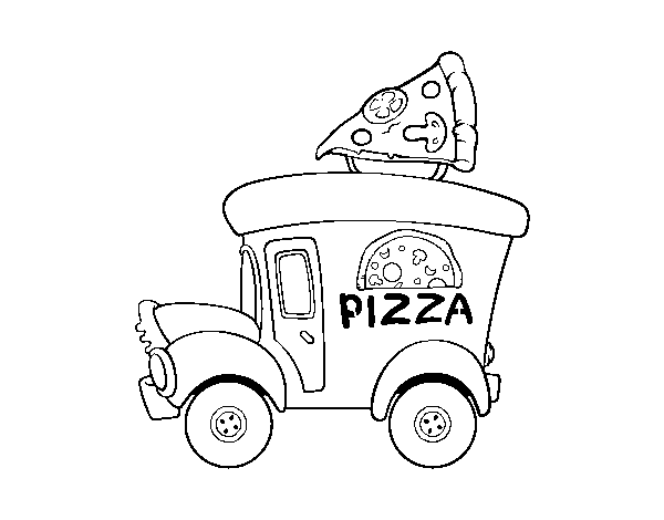 Dibujo de Food truck de pizza para Colorear