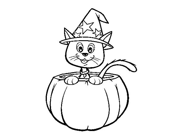 Dibujo De Gatito De Halloween Para Colorear Dibujosnet