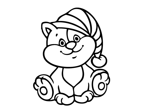 Dibujo de Gato con gorro para Colorear - Dibujos.net