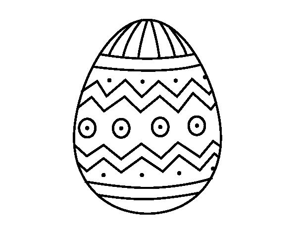 Dibujo de Huevo de Pascua con estampados para Colorear - Dibujos.net