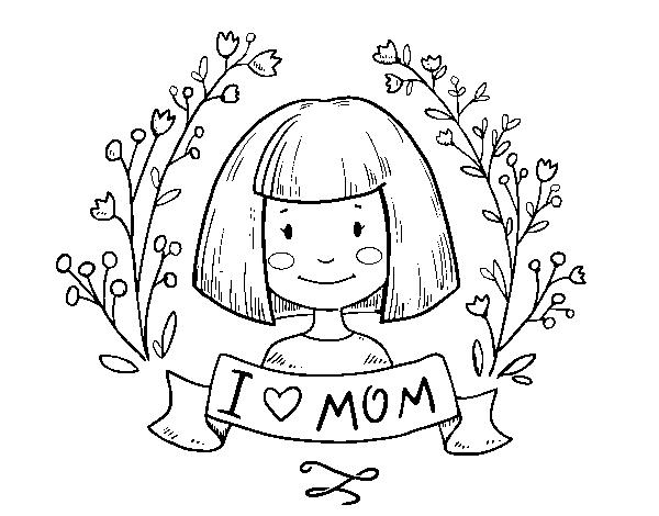 Dibujo de I love mom para Colorear - Dibujos.net