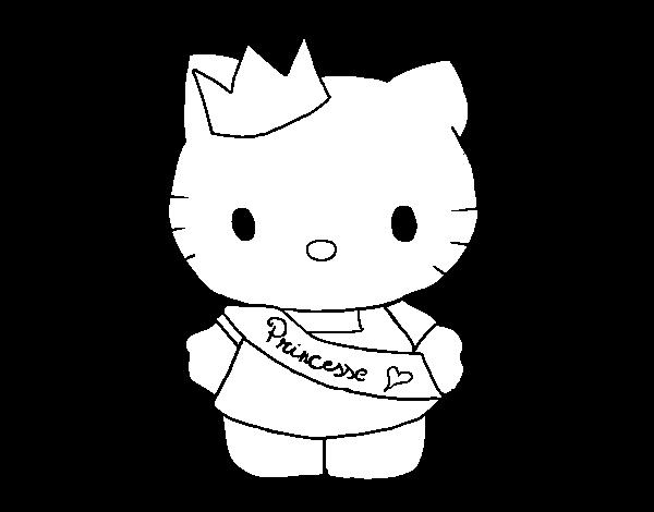 Dibujos Para Colorear Hello Kitty Princesa: Dibujo De Kitty Princesa Para Colorear