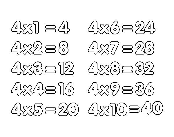 Dibujo de La Tabla de multiplicar del 4 para Colorear - Dibujos.net
