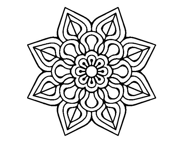 Dibujo de Mandala de flor sencilla para Colorear - Dibujos.net