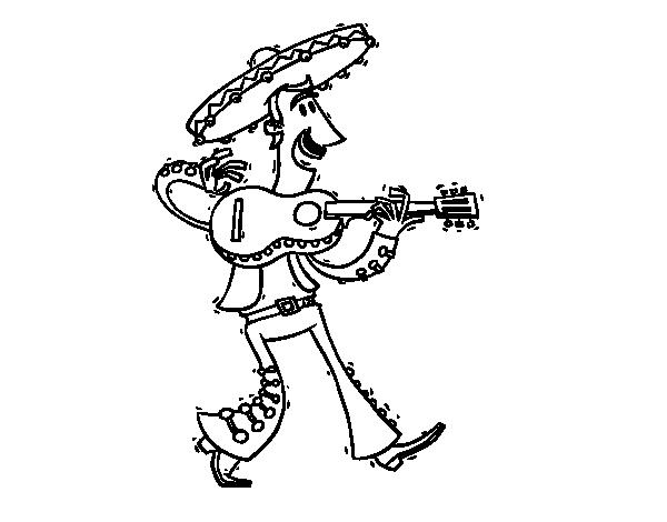 Dibujo De Mariachi Con Guitarra Para Colorear Dibujosnet