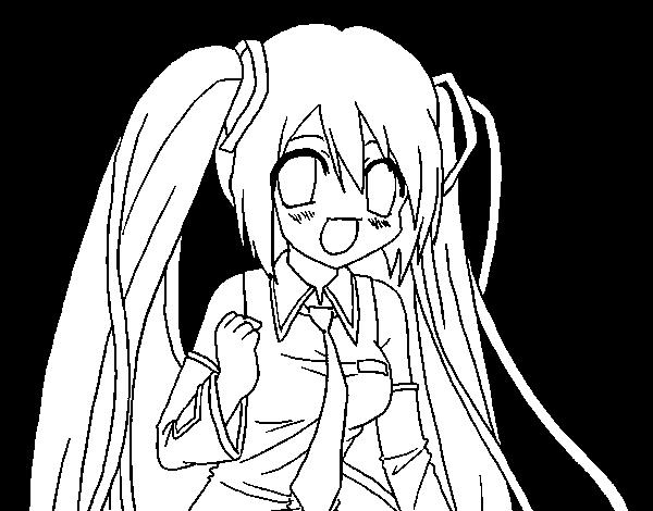 Dibujo De Miku Hatsune Vocaloid Para Colorear Dibujosnet