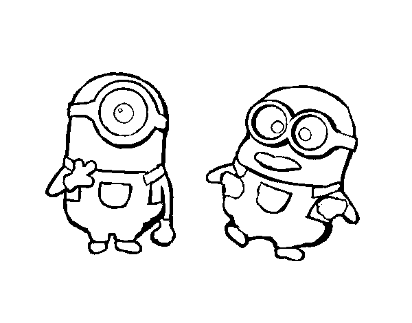 Dibujo de Minions - Carl y Dave para Colorear - Dibujos.net