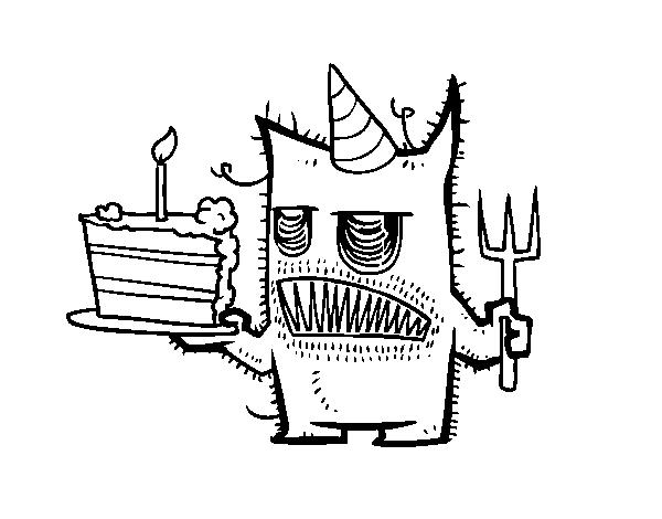 Dibujo de Monstruo con tarta de cumpleaños para Colorear - Dibujos.net