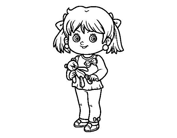 Colorear Para Niñas: Dibujo De Niña Con Oso De Peluche Para Colorear