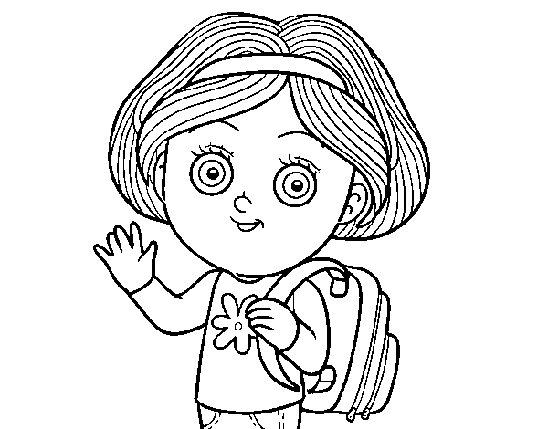 Dibujo De Niña Escolar Para Colorear Dibujosnet