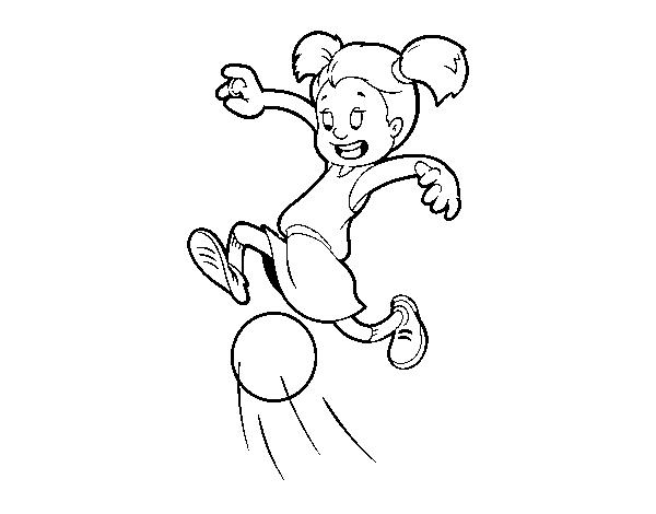 Dibujo de Niña jugando a fútbol para Colorear - Dibujos.net