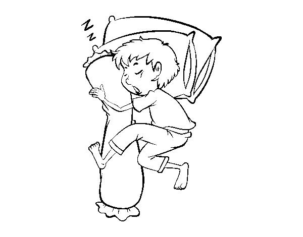 Dibujo De Niño Durmiendo Para Colorear Dibujosnet