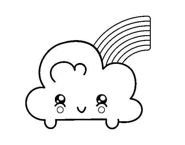 Dibujo De Nube Con Arco Iris Kawaii Para Colorear Dibujos Net