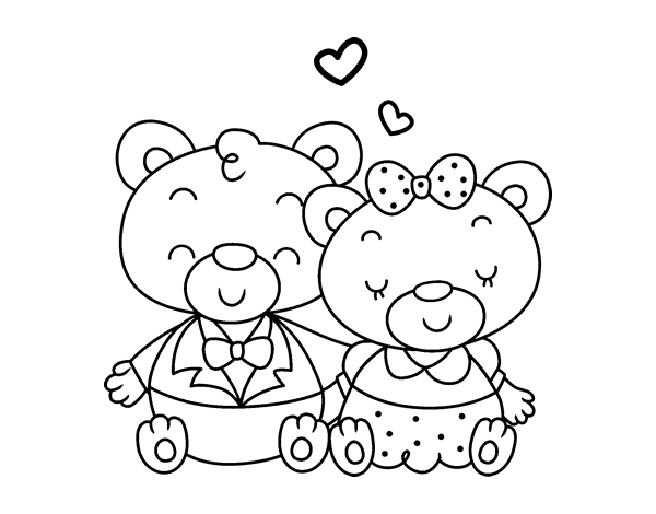 Dibujo De Ositos Enamorados Para Colorear Dibujosnet