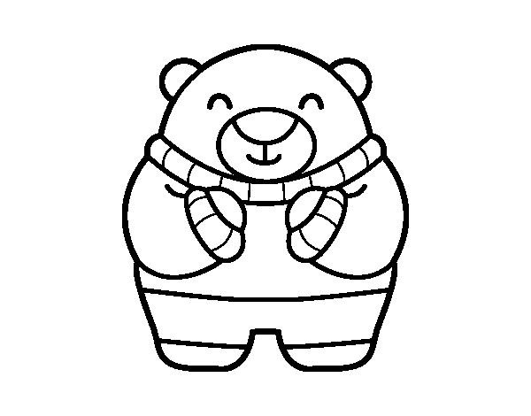 Dibujo de Oso en invierno para Colorear - Dibujos.net