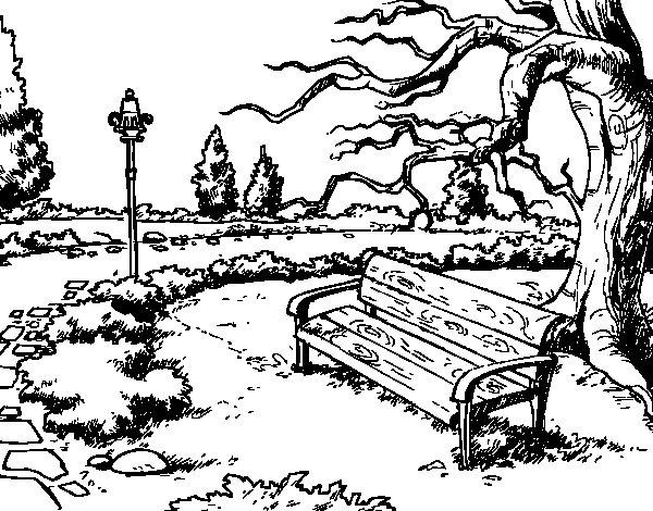 Dibujo De Paisaje De Parque Para Colorear