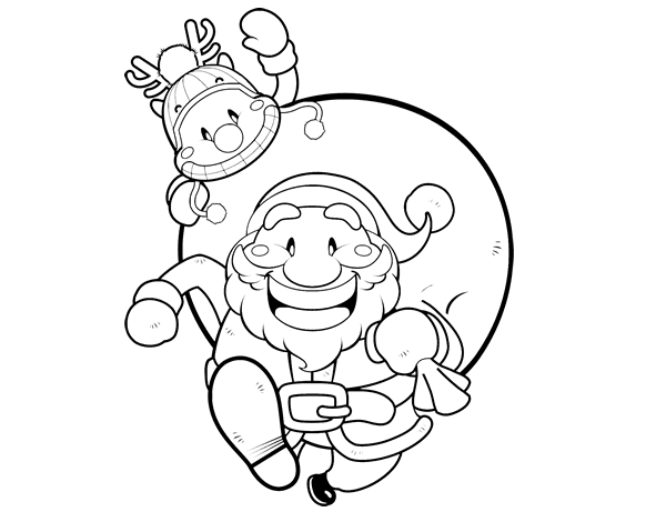 Dibujo de Papá Noel y Rudolph para Colorear - Dibujos.net