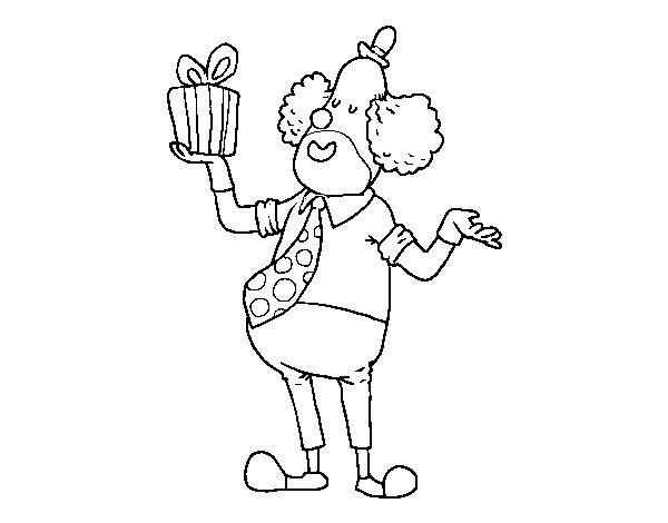 Dibujo de Payaso con regalo para Colorear - Dibujos.net