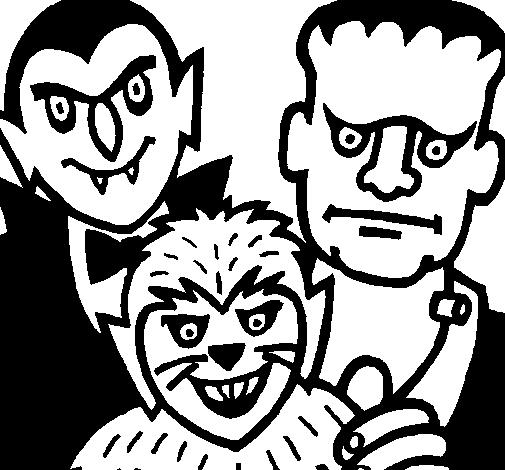 Dibujo de Personajes Halloween para Colorear - Dibujos.net