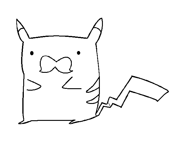 Dibujo De Pikachu Con Bigote Para Colorear Dibujosnet