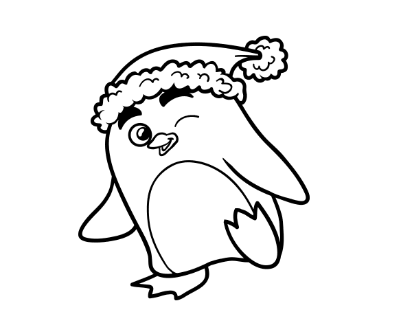 Dibujo de Pingüino con gorro de Navidad para Colorear - Dibujos.net