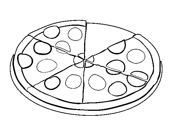 Dibujo de Pizza de pepperoni para Colorear