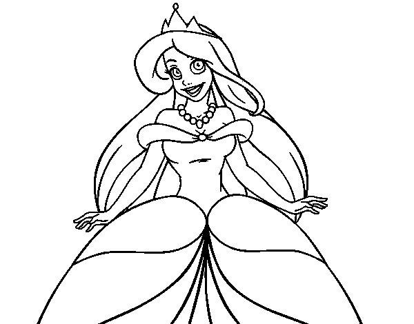 Princesa Jasmin Para Colorear: Dibujo De Princesa Ariel Para Colorear