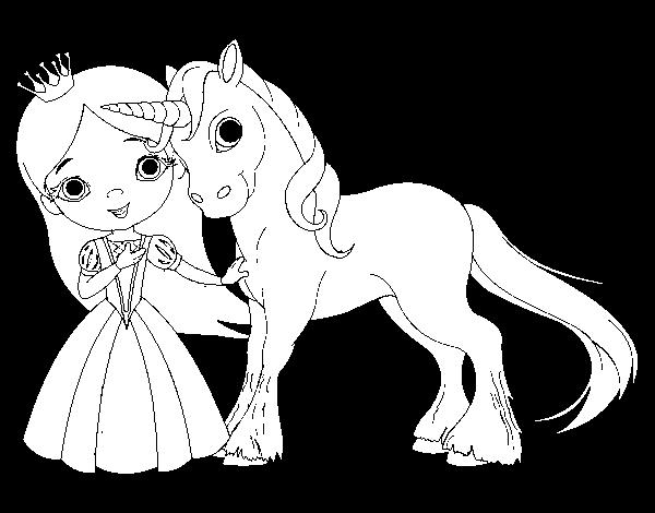 Dibujo De Princesa Y Unicornio Para Colorear Dibujos Net