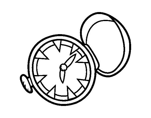 Dibujo De Reloj De Bolsillo Para Colorear Dibujosnet
