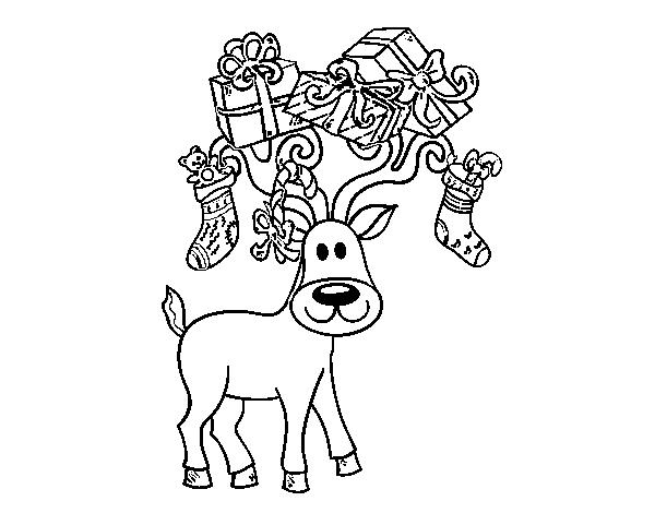 Dibujo de Reno con regalos de Navidad para Colorear - Dibujos.net