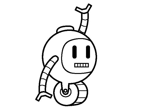 Dibujo de Robot con rueda para Colorear - Dibujos.net